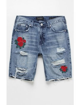 Skinny Destroy Rose Medium Denim Shorts by Pac Sun