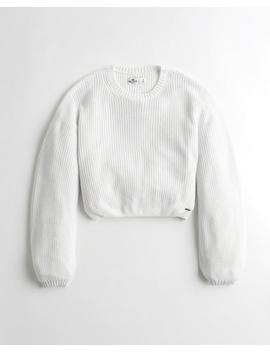 Balloon Sleeve Crop Crewneck Sweater by Hollister