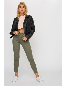 Cali High Rise Cuffed Olive Skinny Jean by Urban Planet
