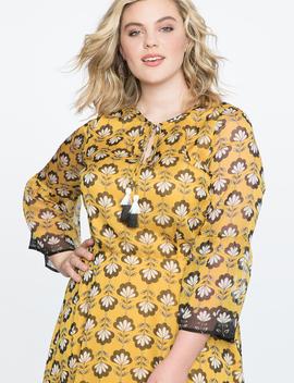 Printed Flare Sleeve Midi Dress by Eloquii