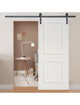 Calhome Classic Bent Strap Sliding Track Hardware Mdf 2 Panel Primed Interior Barn Door & Reviews by Calhome
