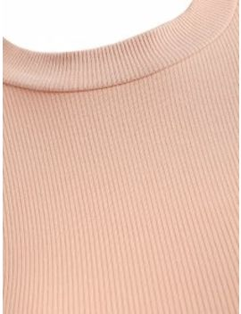 Cropped Lace Up Ribbed Top   Light Pink S by Zaful