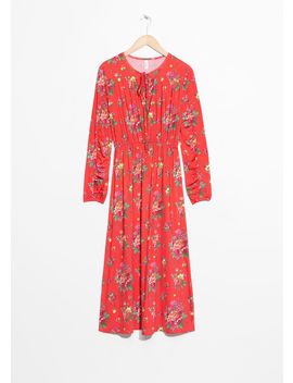 Printed Ruched Midi Dress by & Other Stories
