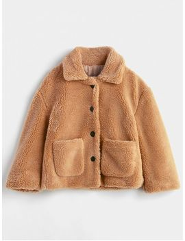 Fluffy Patch Pockets Faux Fur Winer Coat   Brown L by Zaful