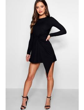 Petite Knot Front Skater Dress by Boohoo