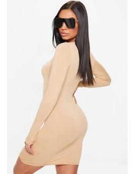 Nude Crew Neck Mini Dress by Missguided