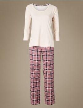 Pure Cotton Check Print ¾ Sleeve Pyjama Set by Marks & Spencer