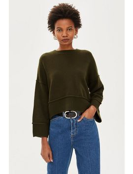 Petite Stripe Popper Jumper by Topshop