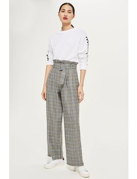 Mustard Check Wide Leg Trousers by Topshop