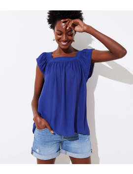 Shirred Square Neck Top by Loft