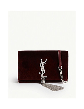 Kate Velvet Wallet On Chain by Saint Laurent