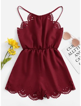 Solid Hollow Out Halter Romper by Romwe