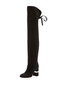 Suede Over The Knee Boots With Jeweled Heel by Miu Miu