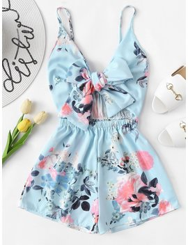 Tie Front Floral Print Cami Romper by Romwe
