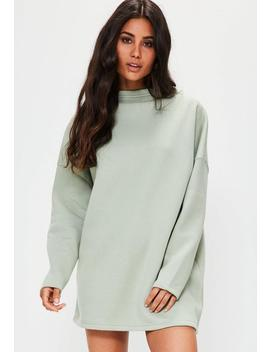Green High Neck Sweater Dress by Missguided