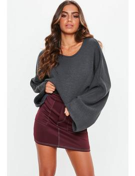 Tall Grey Extreme Wide Sleeve Crop Jumper by Missguided