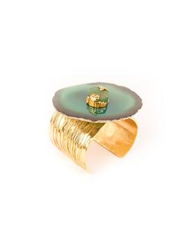 Pre Owned Medium Arty Agate Slice Cuff   Aventurine by Saint Laurent
