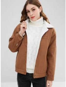 Graphic Faux Shearling Coat   Light Brown S by Zaful