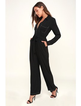 Suit For The Moon Black Long Sleeve Jumpsuit by Lush