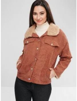 Corduroy Single Breasted Fluffy Coat   Brown M by Zaful