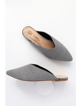 Keva Black And White Houndstooth Pointed Toe Mules by Lulu's