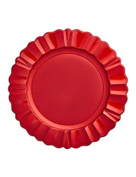 Red Scalloped Lacquer Charger Plate by Pier1 Imports