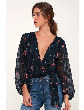 Jill Navy Blue Floral Print Polka Dot Long Sleeve Bodysuit by Astr The Label