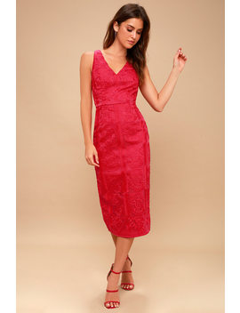 Spectrum Red Embroidered Midi Dress by Finders Keepers