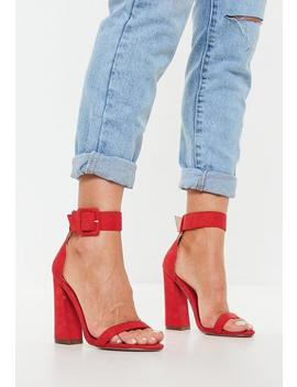 Red Buckle Barely There Flared Heels by Missguided