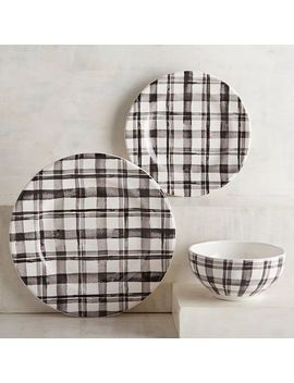 Watercolor Black Plaid Dinnerware by Pier1 Imports