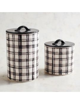 Black & White Plaid Canisters by Pier1 Imports