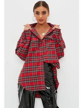 Petite Red Basic Check Shirt by Missguided