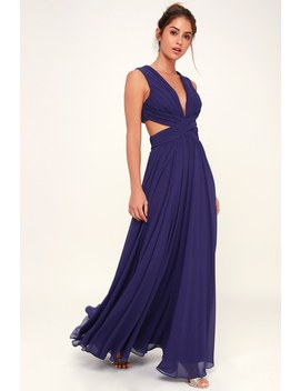 Vivid Imagination Royal Blue Cutout Maxi Dress by Lulus
