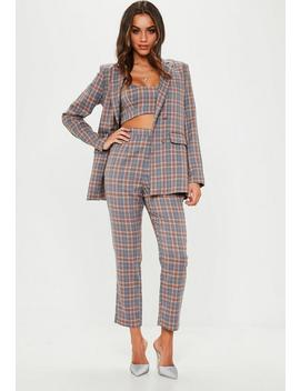 Grey Check Straight Leg Trousers by Missguided