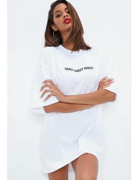 Petite White Nakey Nakey Nakey Oversized T Shirt Dress by Missguided
