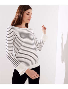 Striped Pleated Bell Cuff Sweater by Loft