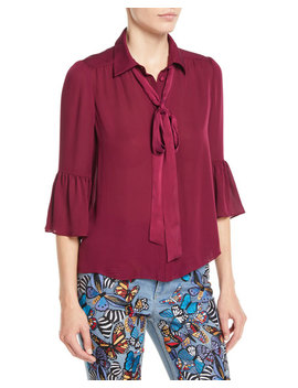 Maxima Ruffle Sleeve Button Front Silk Blouse by Alice + Olivia