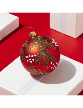 Pine Bough Red Ball Ornament by Crate&Barrel