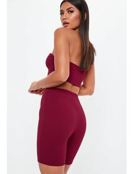 Burgundy Cycling Short Co Ord by Missguided