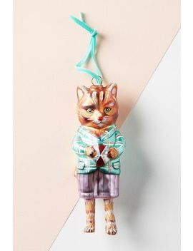 Well Dressed Glass Cat Ornament by Anthropologie