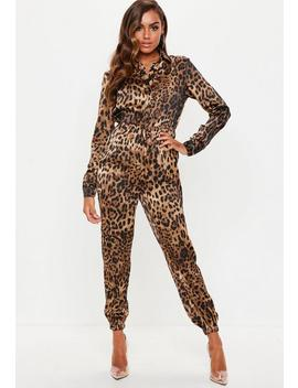 Leopard Print Long Sleeve Utility Jumpsuit by Missguided