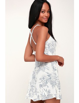 Rachel White And Grey Floral Print Slip Dress by Lucy Love