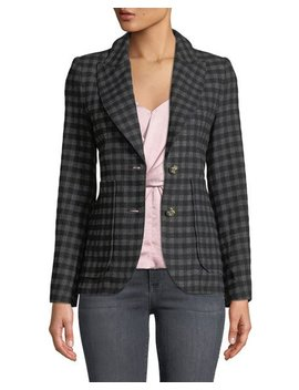 Check Two Button Blazer With Patch Pockets by Smythe