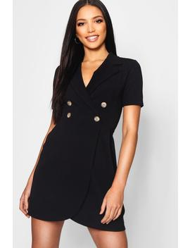 Mock Horn Button Utility Blazer Dress by Boohoo