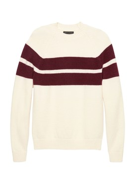 Br X Kevin Love | Air Spun Stripe Crew Neck Sweater by Banana Repbulic