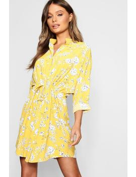 Button Through Floral Shirt Dress by Boohoo