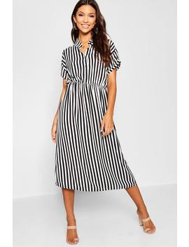 Woven Striped Midi Shirt Dress by Boohoo