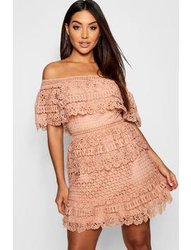 Tiered Crochet Off The Shoulder Skater Dress by Boohoo