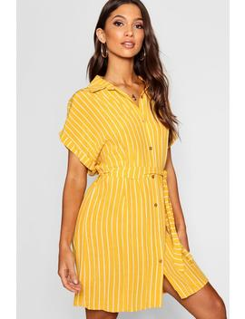 Woven Stripe Belted Shirt Dress by Boohoo