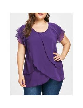 "<P>Plus Size Raglan Sleeve Tulip Blouse</P><I Class=""Icon Down Js Tap Up Down""></I> by Dress Lily"
